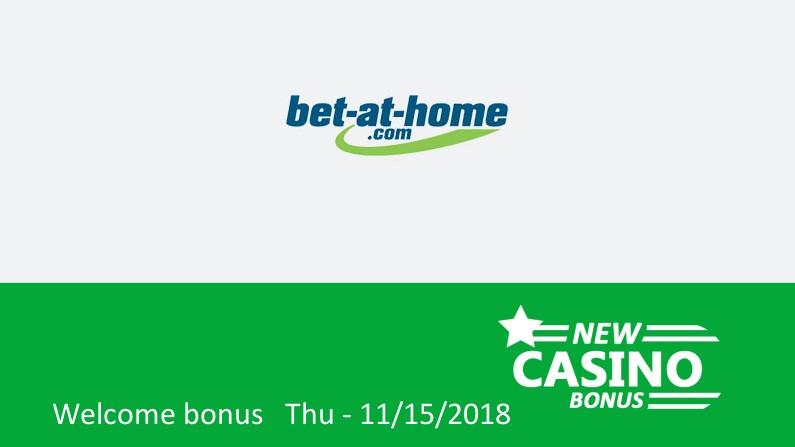Bet-at-home Casino gives; 100% up to 180€ in bonus, 1st deposit bonus