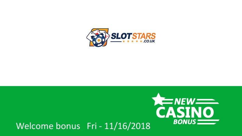 SlotStars Casino bonus: 100% up to 100£ in bonus + 10 bonus spins, 1st deposit bonus